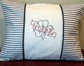 Decorative pillow,  Lucky tattoo shamrock stripe Ticking PILLOW COVER in natural linen velvet ribbon closure