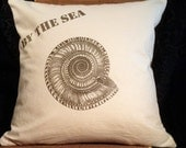 """Sea shell decorative PILLOW COVER, """"By The Sea"""" number 1 washed natural canvas 16 x 16"""