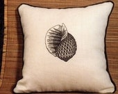 Sea shell decorative pillow embroidered 11 x 11 beach cottage inspired natural linen with black rope trim