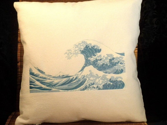 Ocean wave graphic in shades of Blue decorative pillow, white washed canvas 14 x 14