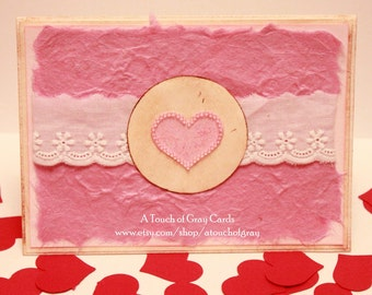 Valentine's Day Card  The Heart of My Life - Handmade Valentine's Day Greeting Card with Light Pink Beads
