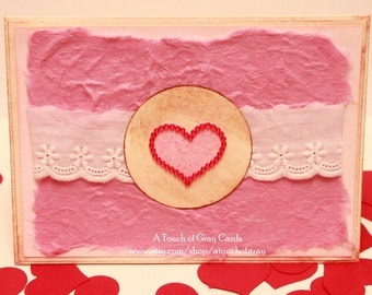 Valentine's Day Card The Heart of My Life - Handmade Valentine's Day Greeting Card Pink Heart with Red Beads