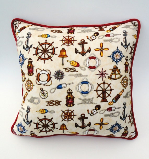 Nautical Throw Pillow Cover 15 x 15 With red trim