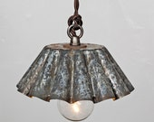 Brioche Tin Pendant Light (SM) - Barn Aged Patina  - Vintage Industrial Rustic Modern // Vintage Style Cloth Twisted Cord & Bakelite Plug