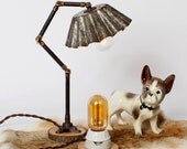 Pixar Junior Articulated Brioche Tin Table Lamp - Rustic Modern Vintage Industrial // Vintage Style Cloth Twisted Cord & Bakelite Plug