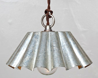 Brioche Tin Pendant Light (LG) - Etched Tin Patina - Rustic Modern Vintage Industrial  // Vintage Style Cloth Twisted Cord & Bakelite Plug