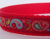 Red Paisley Dog Collar / Last one Xs or Small available
