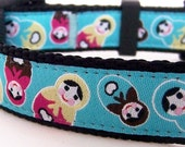 Happy Matryoshkas Dog Collar / Teal Blue / Only Size Medium Available with Black Buckle - premade