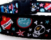 Show Me Your Tattoo Dog Collar,  Skull Rocker Dog Collar,  Boy Dog Collar, Black