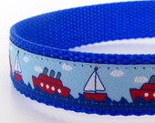 Sail Away Dog Collar / Nautical Ribbon / blue / Last One