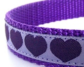Purple Hearts Dog Collar / Adjustable Dog Collar / Only up to size Small available