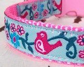 Pink Birdies and Flowers Dog Collar / last one any size