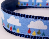 RESERVED for M / Clouds and Raindrops Dog Collar / Adjustable / Limited