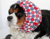Red Blue Polka Dots Dog Snood - Stay-Put 3 Rows Elastic Thread - Cavalier or Cocker Snood