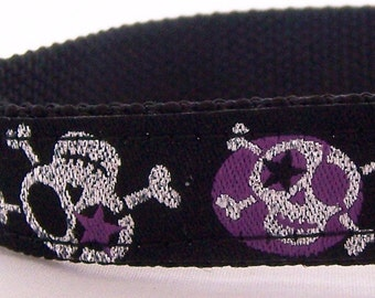 Stars and Purple Glitter Skulls Dog Collar, Adjustable Ribbon Pet Collar, Rockstar, Hipster