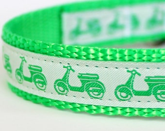 Vespa Dog Collar, Green, Scooter, Adjustable Pet Collar, Scooter Pet Collar