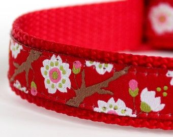 Cherry Blossoms Red Dog Collar,  Adjustable Flower Dog Collar / Red Collar