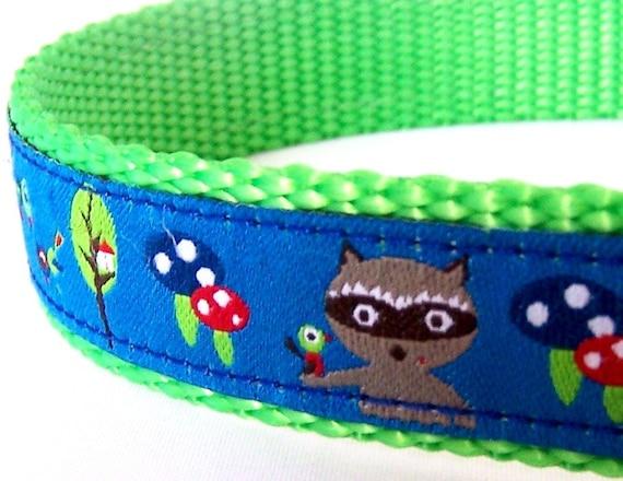 Randy Raccoon Dog Collar in Blue / Adjustable / Ribbon Dog Collar / Woodland Friends
