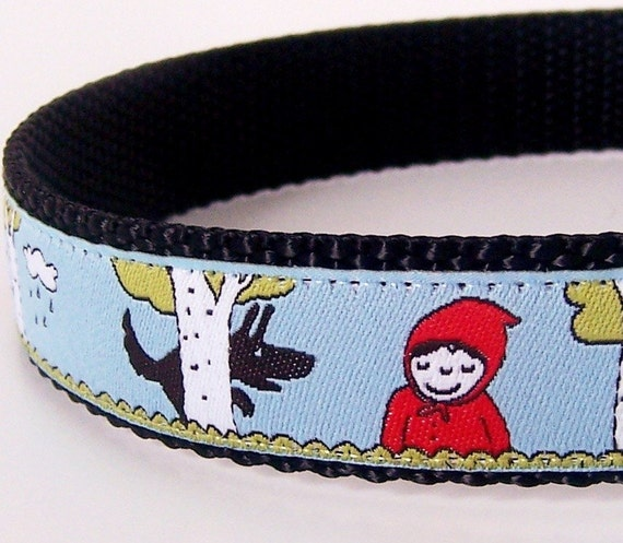 Little Red in the Woods Dog Collar / Adjustable / Ribbon Collar / Last One