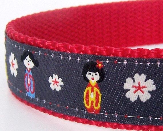 Japanese Dog Collar / Adjustable / Ribbon Dog Collar, last one