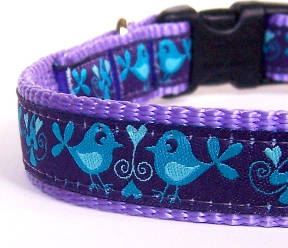 Mirrored Birds dog collar