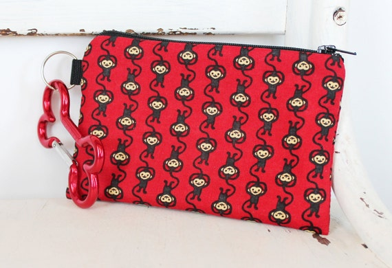 Pet Mess Clean Up Bag / Monkeys on Red fabric  / Pet Leash Purse