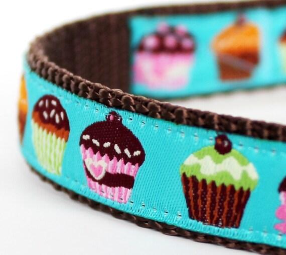 Colorful Cupcakes Dog Collar, Teal Ribbon Pet Collar, Girl Dog Collar, Muffins