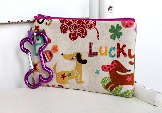 Pet Mess Clean Up Bag / Happy Doxie Linen Fabric  / Pet Leash Purse