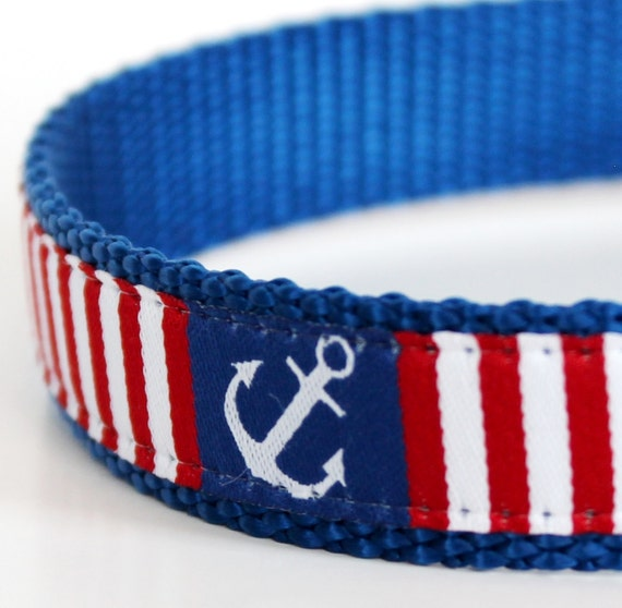 Anchors Away Dog Collar on Blue / Adjustable / Nautical Dog Collar