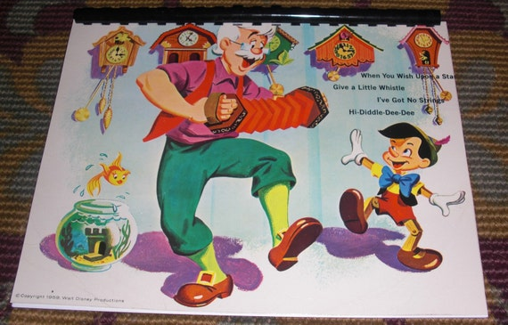 Vintage 1950s / 60s Disney's Pinocchio Soundtrack Record Album Recycled / Upcycled LP Cover Blank Comb-Bound Journal