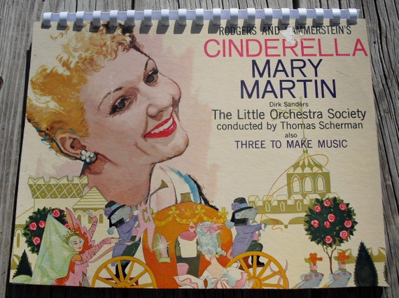Vintage 1950s Rodgers and Hammerstein's Cinderella Soundtrack Record Album Recycled / Upcycled LP Cover Blank Comb-Bound Journal