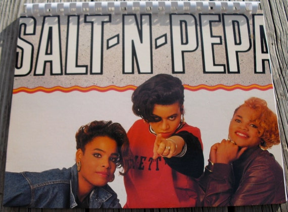 Vintage 1980s Salt -N-Pepa Get Up Everybody Single Album Recycled / Upcycled LP Cover Blank Comb-Bound Journal
