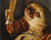 Sloth with Beer - Note Card