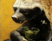 Honey Badger Art - Original Oil Painting by Olivia Beaumont