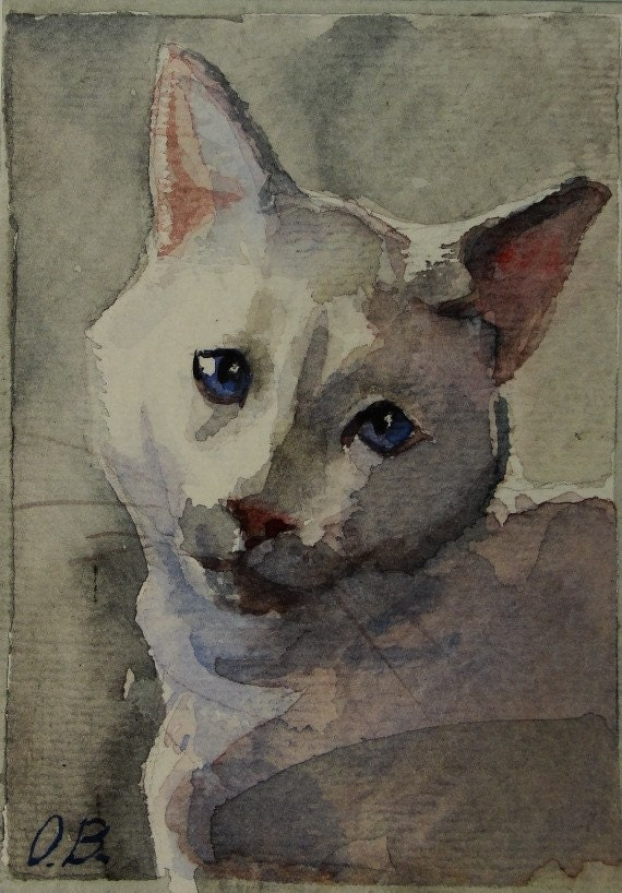 Pet Portraits 2 - Watercolor ACEO -Reserved for Ockies