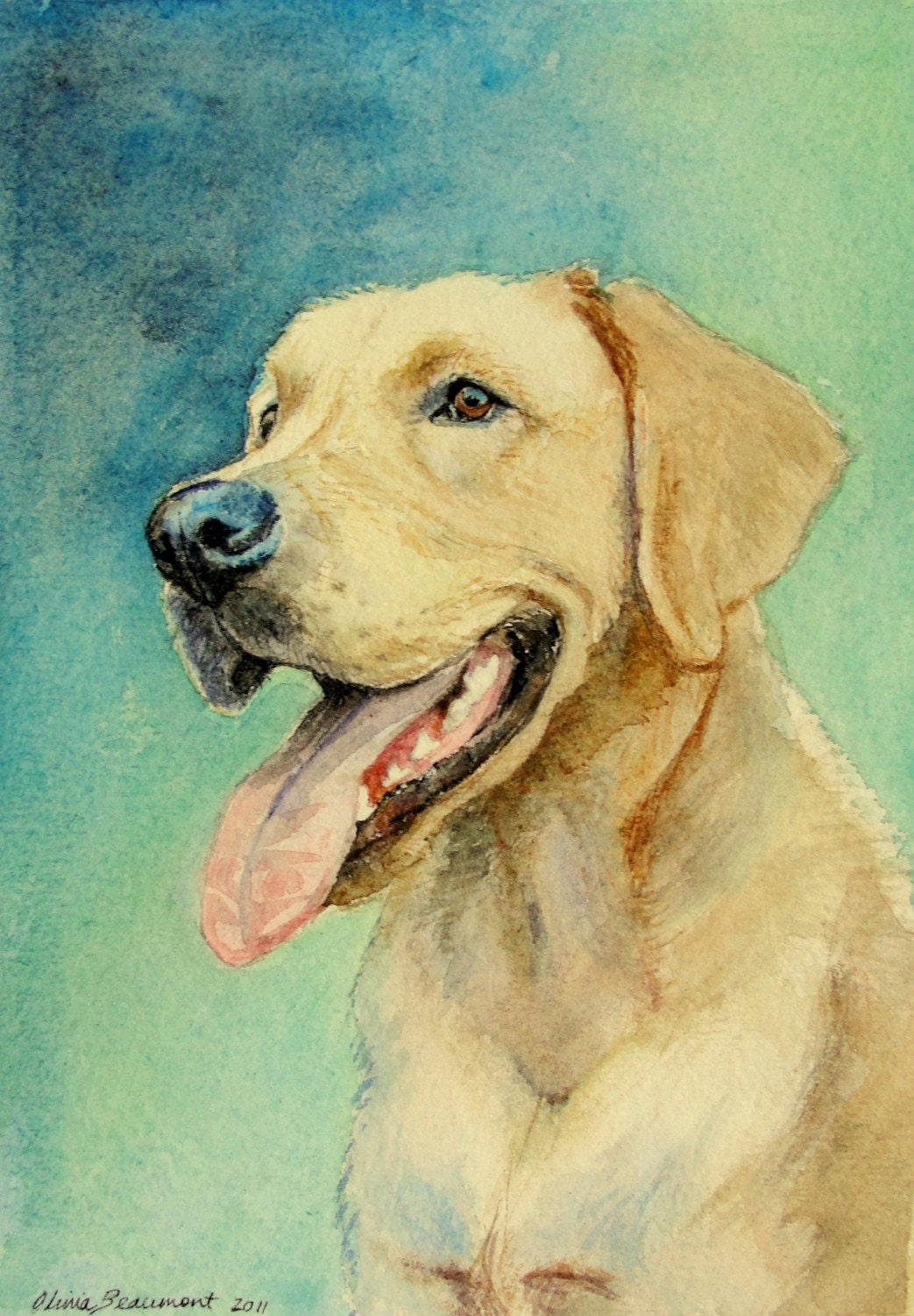 Watercolor Pet Portrait 5x7