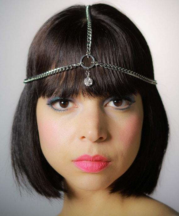 Crystal charm chain headpiece