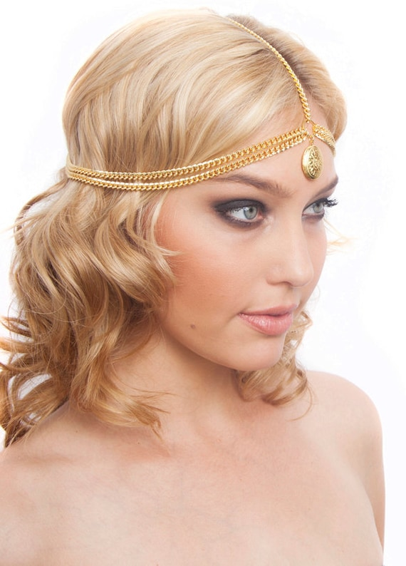 Gold Silver Locket Chain 5 Strand Headpiece Headband Bohemian (Boho) / Hippie