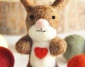 Easter Brown and White Needle Felted Bunny Rabbit with Heart