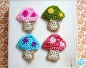 4pcs - Colorful Mushrooms / Toadstool Crochet Appliques in Pink, Limegreen, Cyan, Tomato - made to order