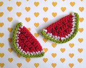 6pcs - Watermelon Crochet Appliques - made to order