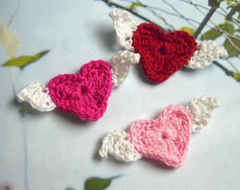 10pcs - Crochet Heart with Wings Appliques - Choose your own colors - made to order
