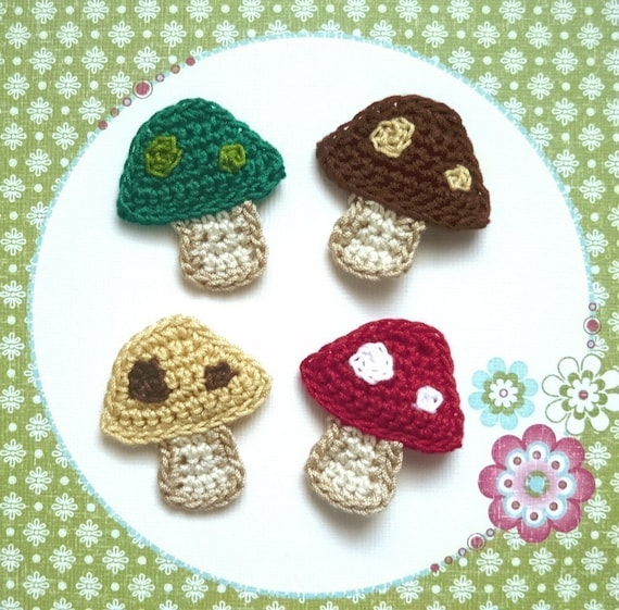 Set of 4 - Colorful Mushrooms / Toadstool Crochet Appliques in green, red, honey gold and brown