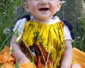 Girls Bright Yellow African Batik Pillowcase Dress- size 12 months