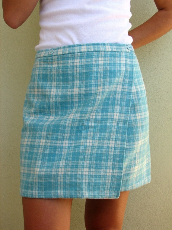 Checked wool wrap skirt in turquoise and cream
