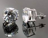 12mm, 12.5cts Brilliant Cut Ice on Fire Diamond CZ Cast Basket Stud Earrings 925 Silver, SMS30028-0579