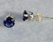4mm, 0.50 carat created Ceylon Sapphire Stud Earrings 925 Sterling Silver, Serene SDI30094-0695