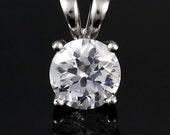 1.0 carat Brilliant Cut Russian Ice Diamond CZ 6.5mm Solitaire Pendant 925 Sterling Silver, SMS60166-0097