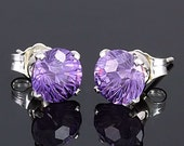 4.8ct Round Starfire Cut Brazilian Amethyst Crown Set Stud Earrings 925 Silver, 8mm