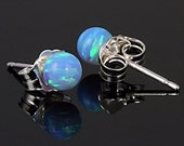 4mm Australian Azure Blue Opal Ball Stud Post Earrings 14K White Gold